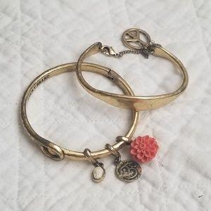 Lucky Brand hammered brass charm bracelets